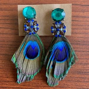 Peacock Feather Earrings with Multicolored Gems